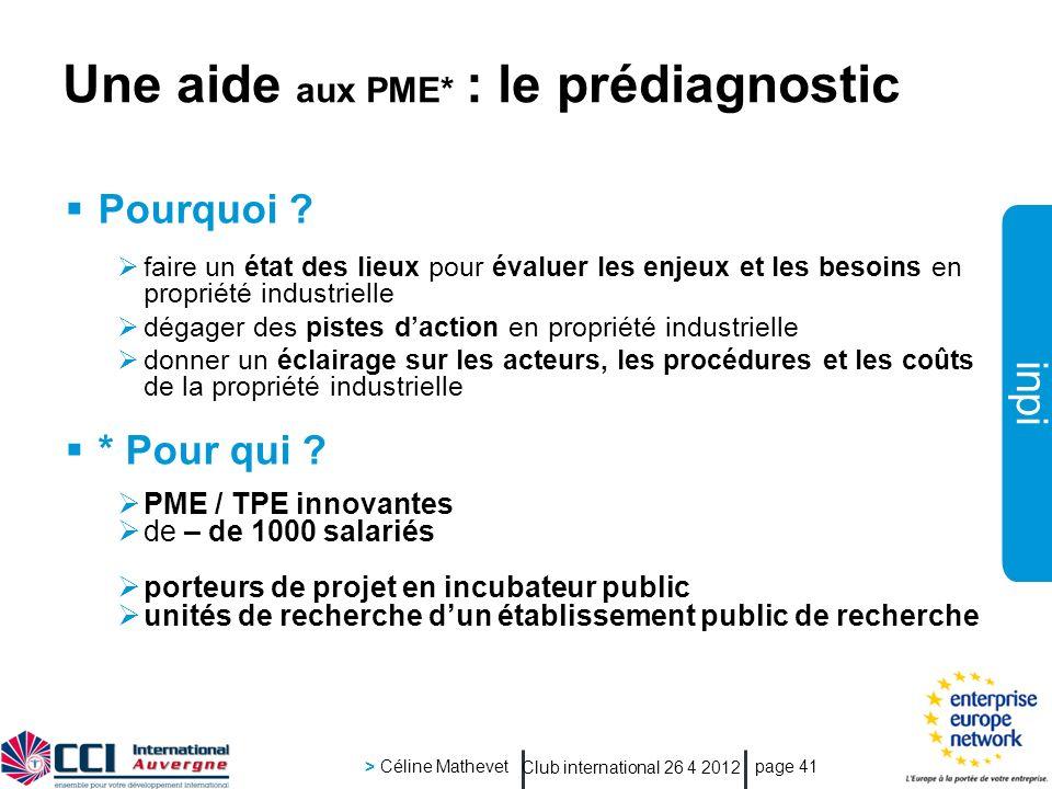 Une aide aux PME* : le prédiagnostic