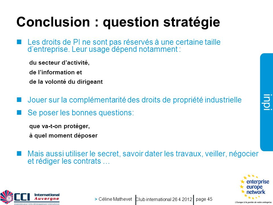 Conclusion : question stratégie