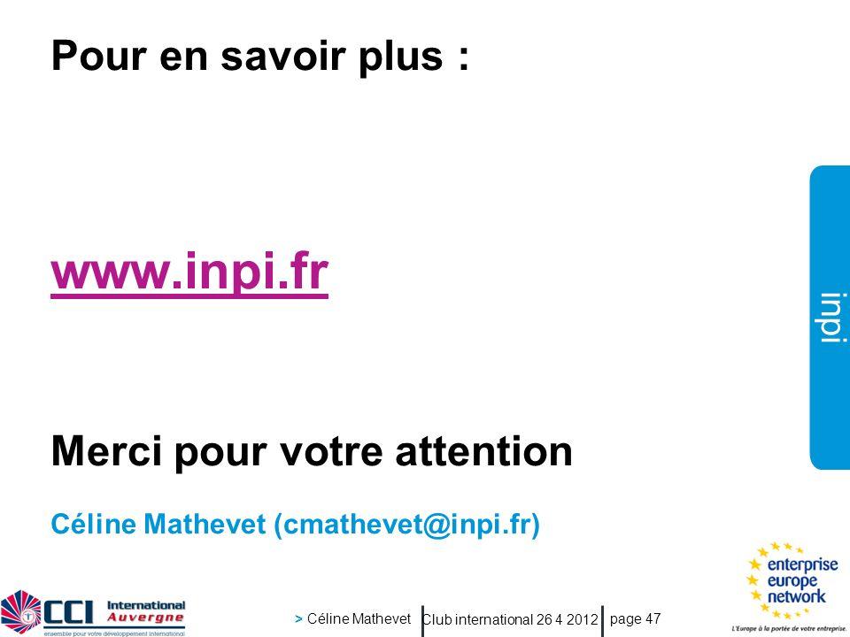 www.inpi.fr Pour en savoir plus : Merci pour votre attention