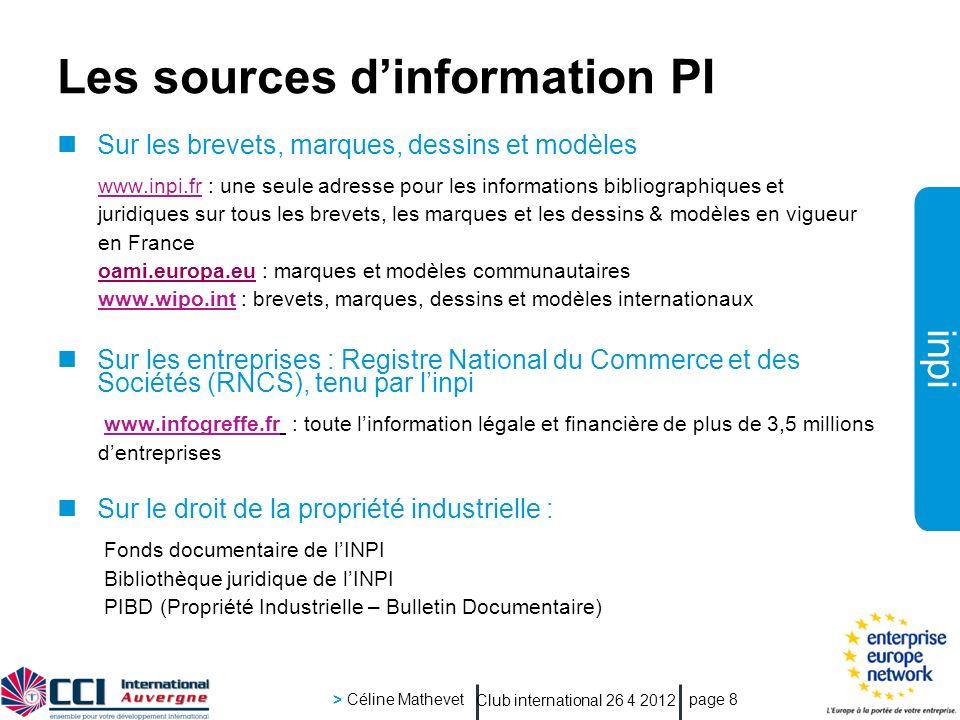 Les sources d'information PI