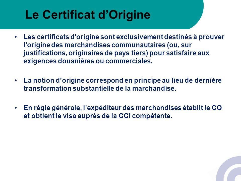 Le Certificat d'Origine