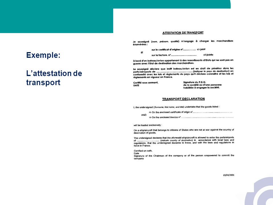 Exemple: L'attestation de transport