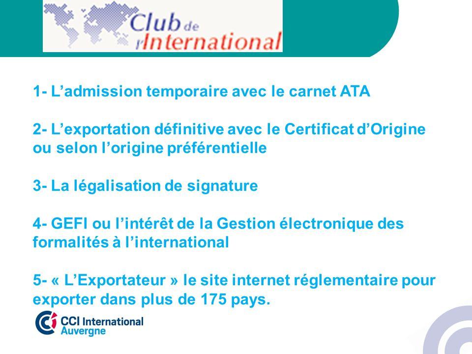 1- L'admission temporaire avec le carnet ATA