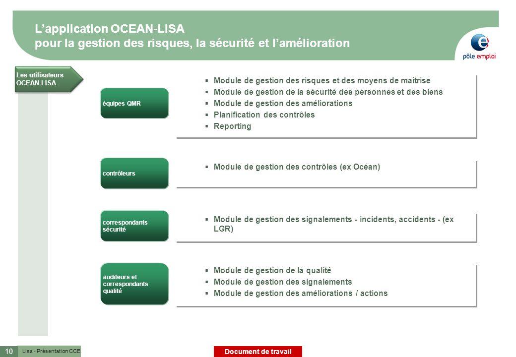 L'application OCEAN-LISA pour la gestion des risques, la sécurité et l'amélioration