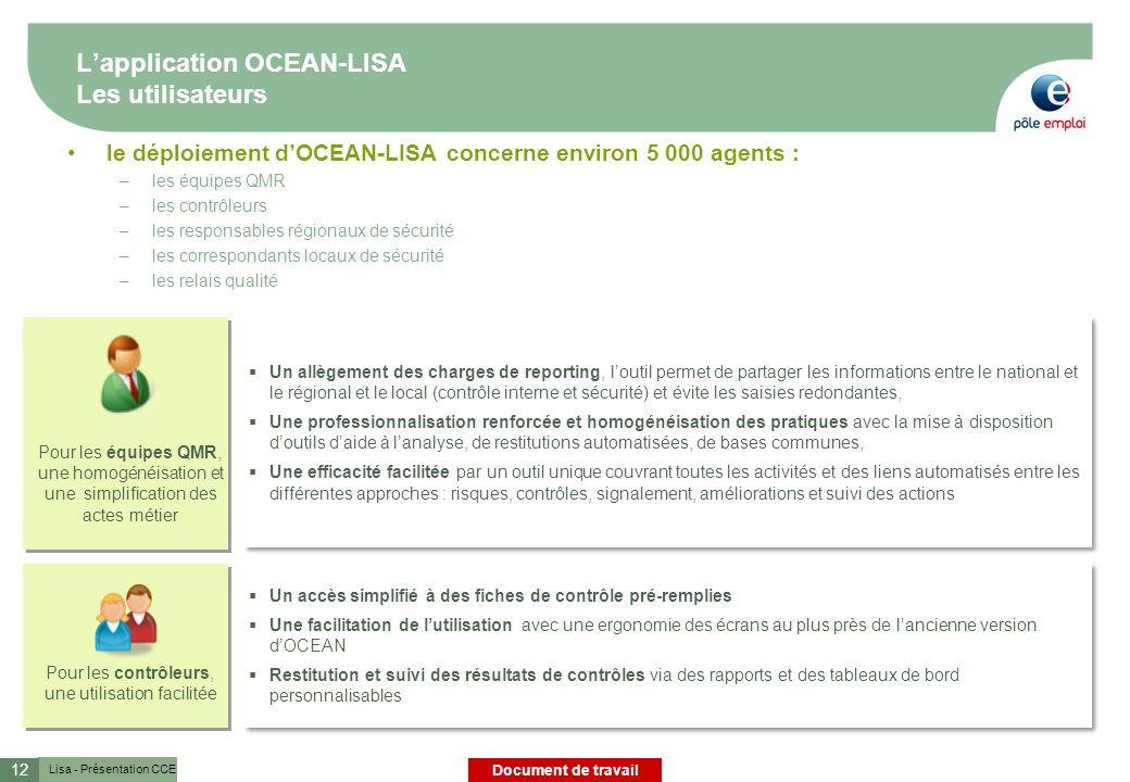 L'application OCEAN-LISA Les utilisateurs