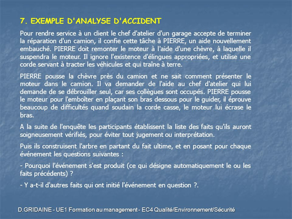 7. EXEMPLE D ANALYSE D ACCIDENT