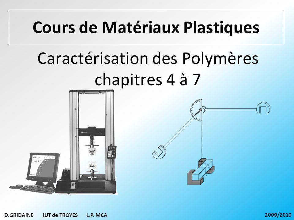 Caractérisation des Polymères chapitres 4 à 7