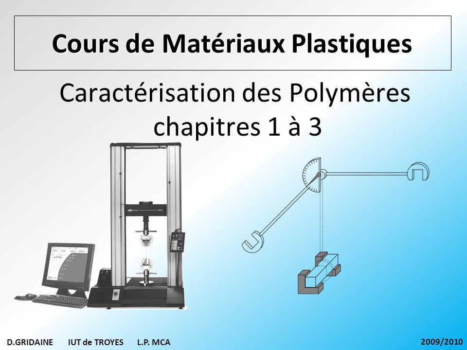 Caractérisation des Polymères chapitres 1 à 3