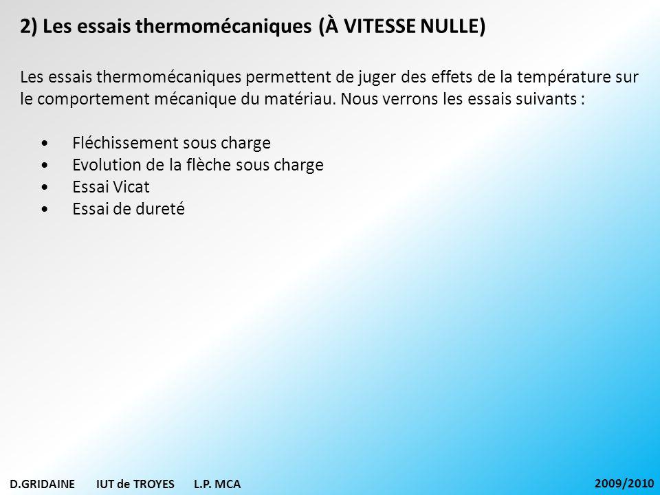 2) Les essais thermomécaniques (À VITESSE NULLE)