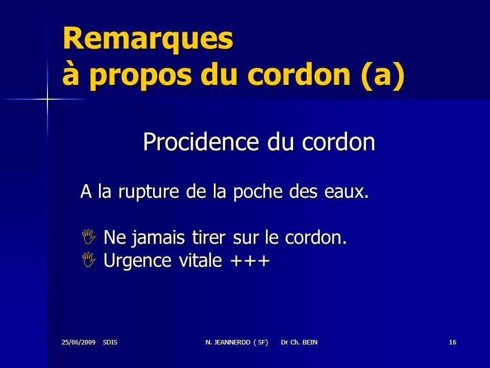 Remarques à propos du cordon (a)