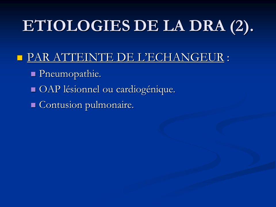 ETIOLOGIES DE LA DRA (2). PAR ATTEINTE DE L'ECHANGEUR : Pneumopathie.