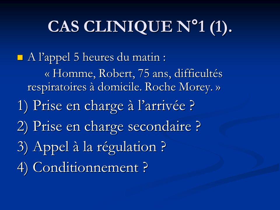 CAS CLINIQUE N°1 (1). 1) Prise en charge à l'arrivée