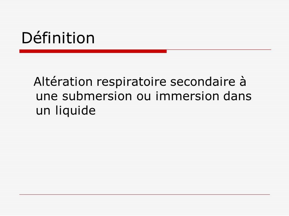 Définition Altération respiratoire secondaire à une submersion ou immersion dans un liquide