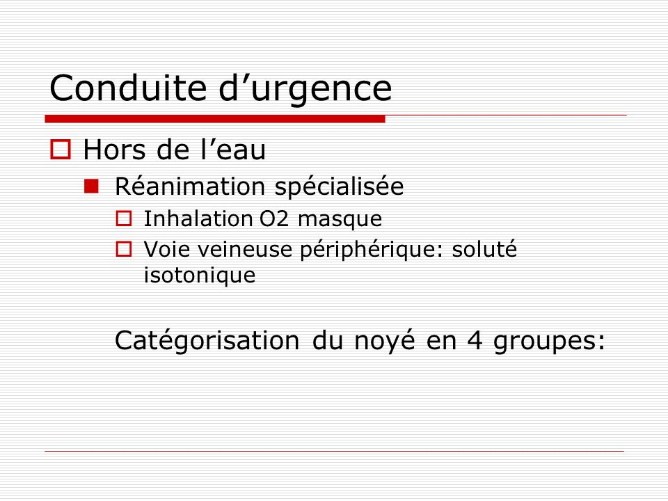 Conduite d'urgence Hors de l'eau Catégorisation du noyé en 4 groupes: