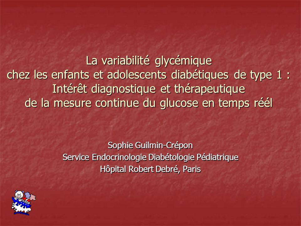 La variabilité glycémique chez les enfants et adolescents diabétiques de type 1 : Intérêt diagnostique et thérapeutique de la mesure continue du glucose en temps réél