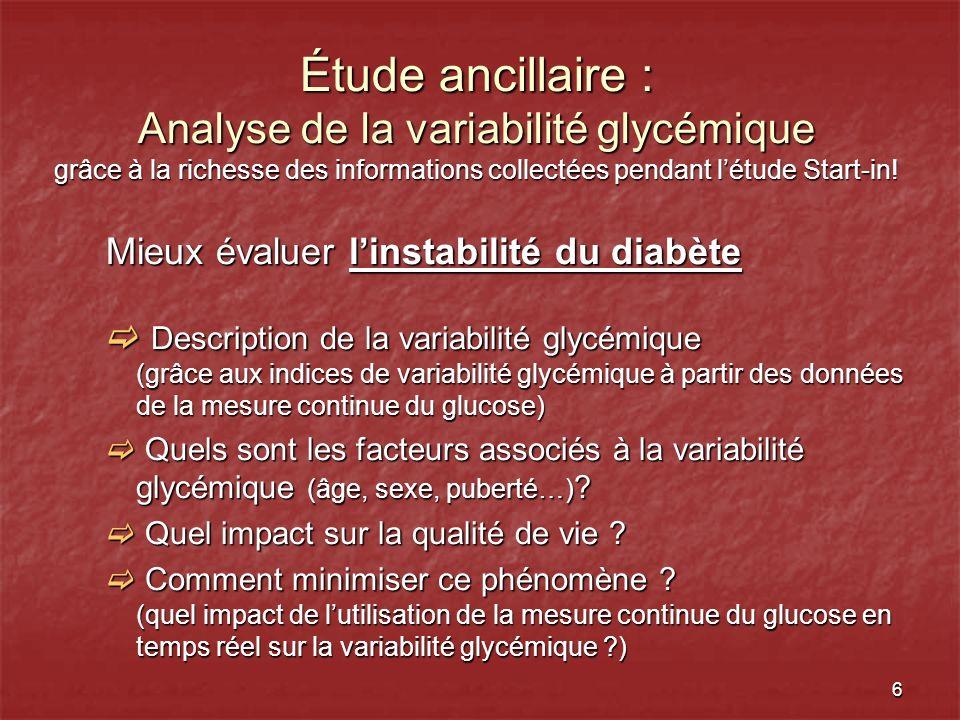 Étude ancillaire : Analyse de la variabilité glycémique grâce à la richesse des informations collectées pendant l'étude Start-in!