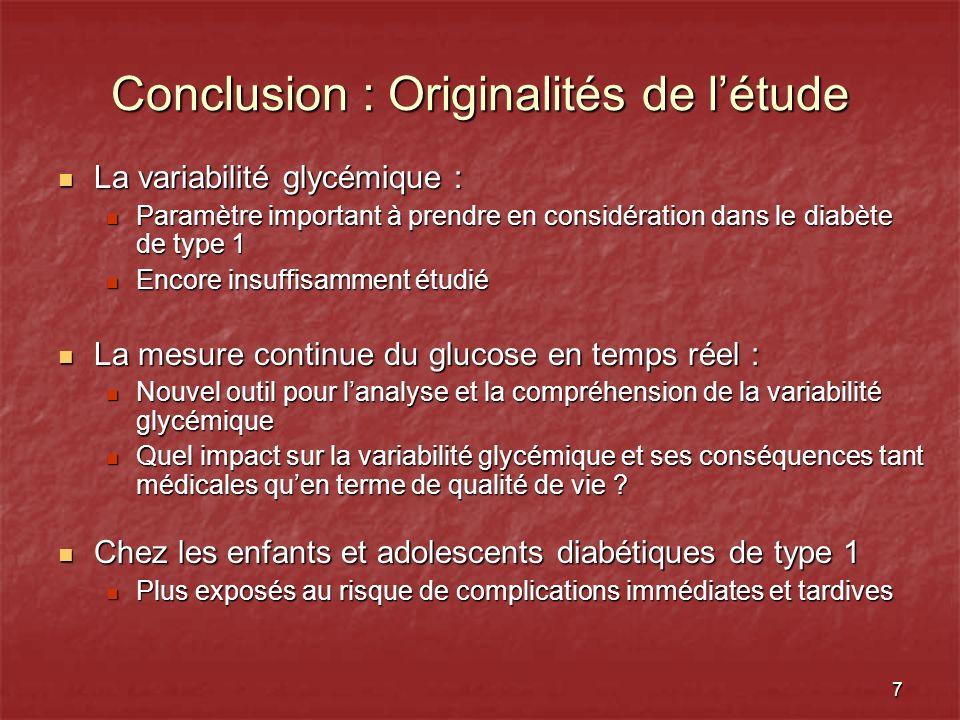 Conclusion : Originalités de l'étude