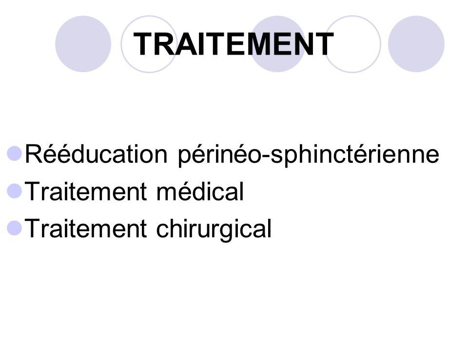 TRAITEMENT Rééducation périnéo-sphinctérienne Traitement médical