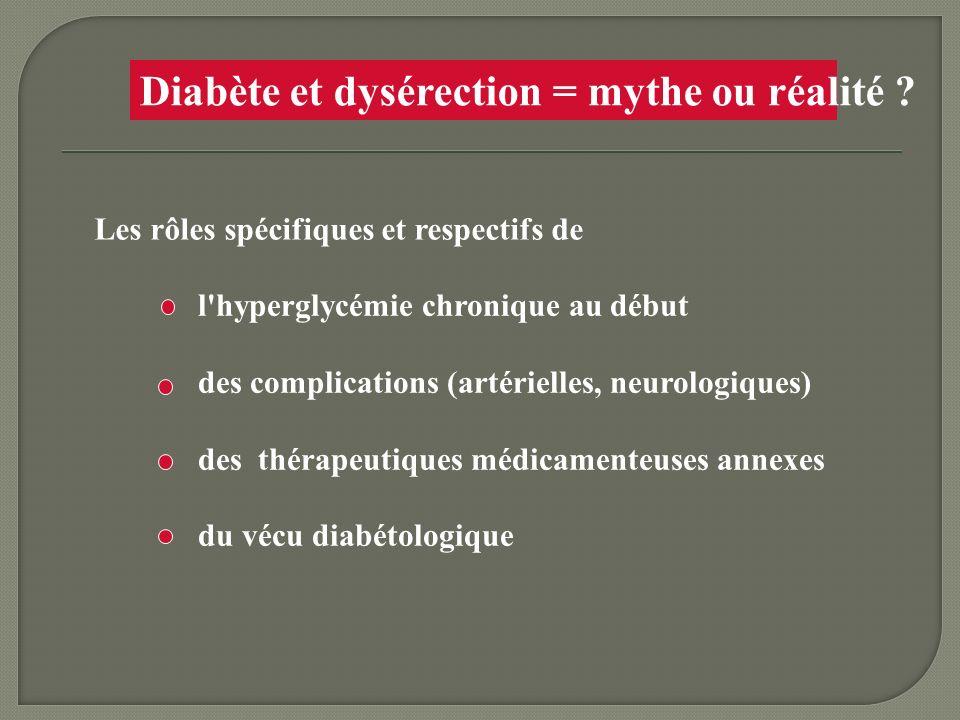 Diabète et dysérection = mythe ou réalité