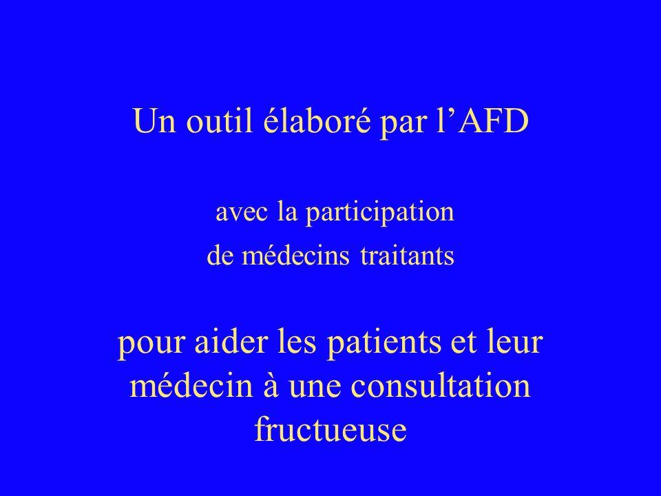 Un outil élaboré par l'AFD avec la participation de médecins traitants pour aider les patients et leur médecin à une consultation fructueuse