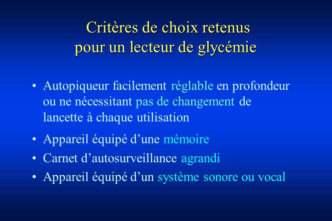 Critères de choix retenus pour un lecteur de glycémie