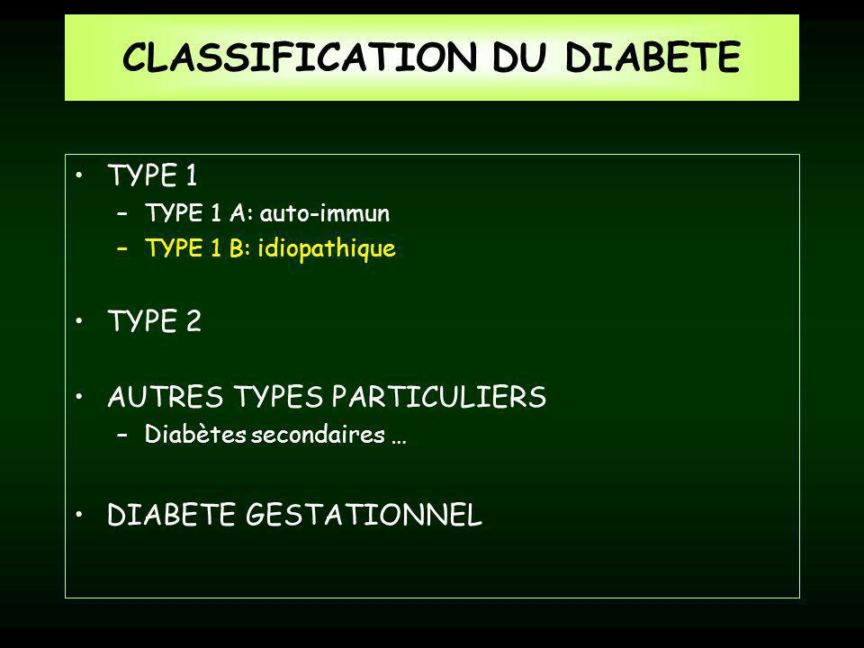 CLASSIFICATION DU DIABETE
