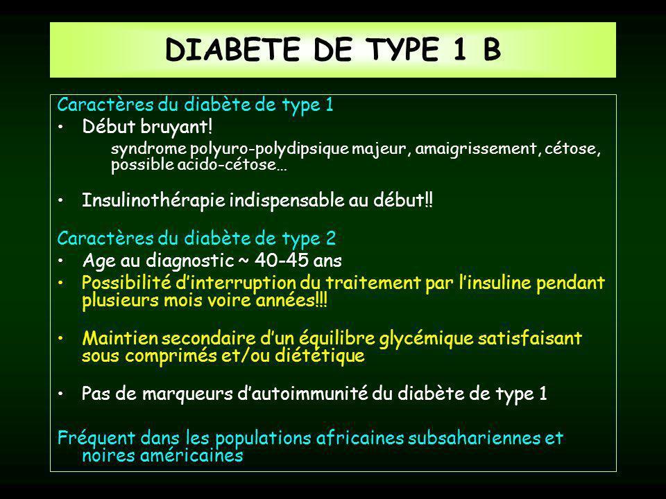 DIABETE DE TYPE 1 B Caractères du diabète de type 1 Début bruyant!