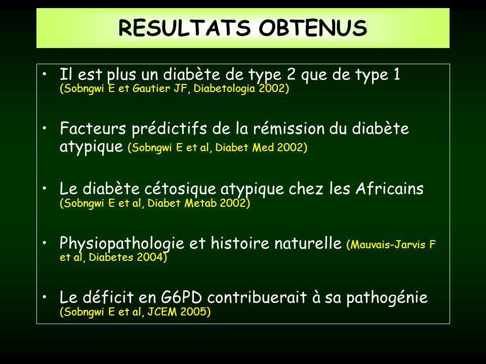 RESULTATS OBTENUS Il est plus un diabète de type 2 que de type 1 (Sobngwi E et Gautier JF, Diabetologia 2002)