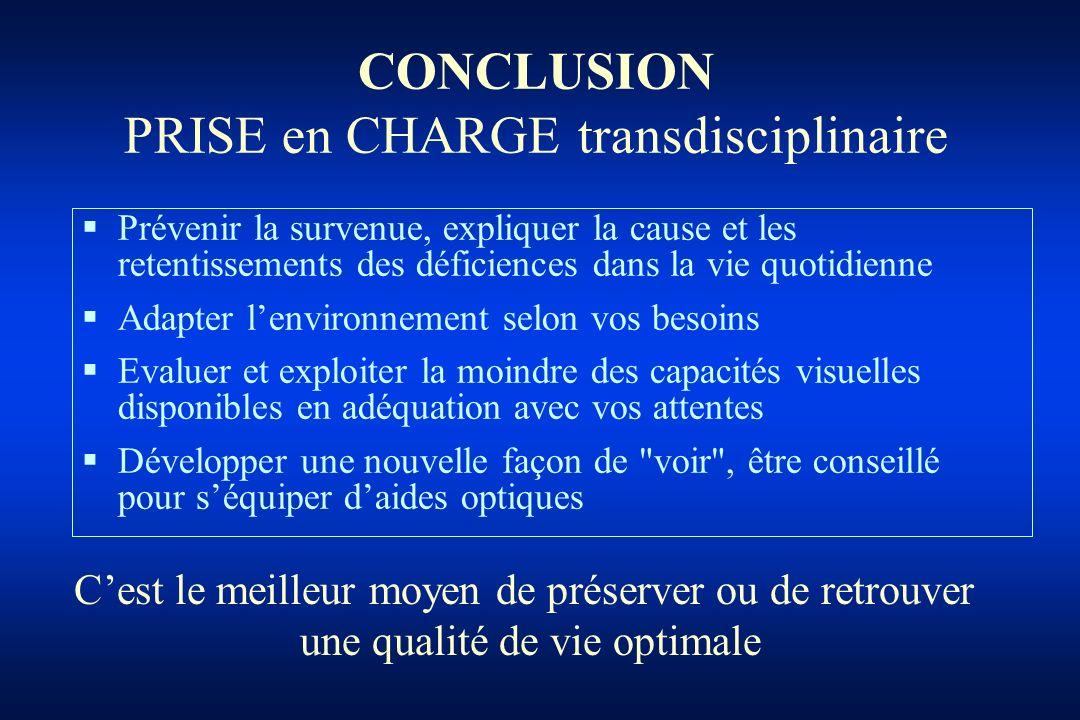 CONCLUSION PRISE en CHARGE transdisciplinaire
