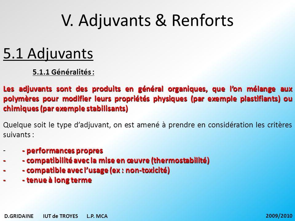 V. Adjuvants & Renforts 5.1 Adjuvants 5.1.1 Généralités :
