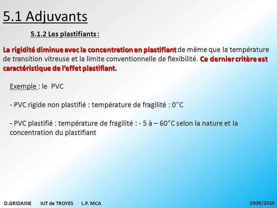 5.1 Adjuvants 5.1.2 Les plastifiants :
