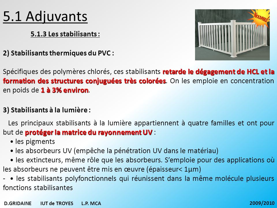 5.1 Adjuvants 5.1.3 Les stabilisants :