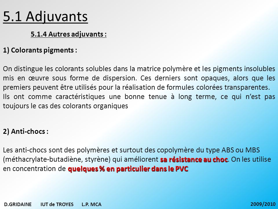 5.1 Adjuvants 5.1.4 Autres adjuvants : 1) Colorants pigments :