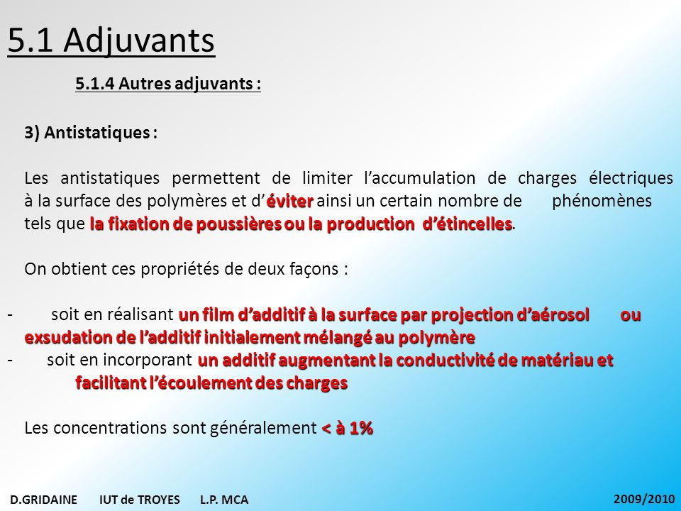 5.1 Adjuvants 5.1.4 Autres adjuvants : 3) Antistatiques :