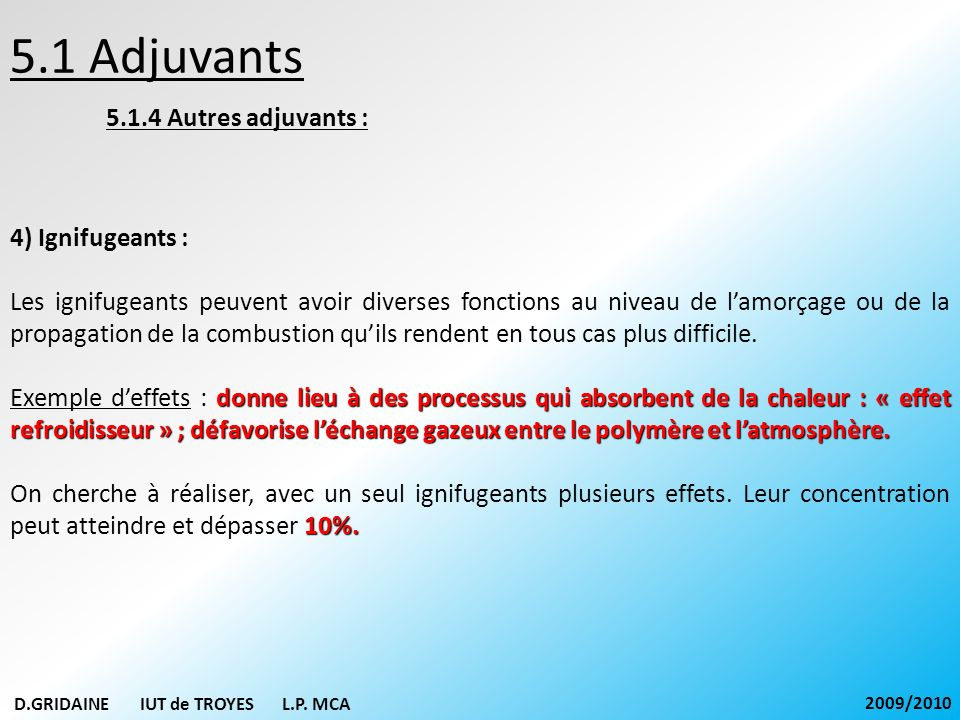 5.1 Adjuvants 5.1.4 Autres adjuvants : 4) Ignifugeants :