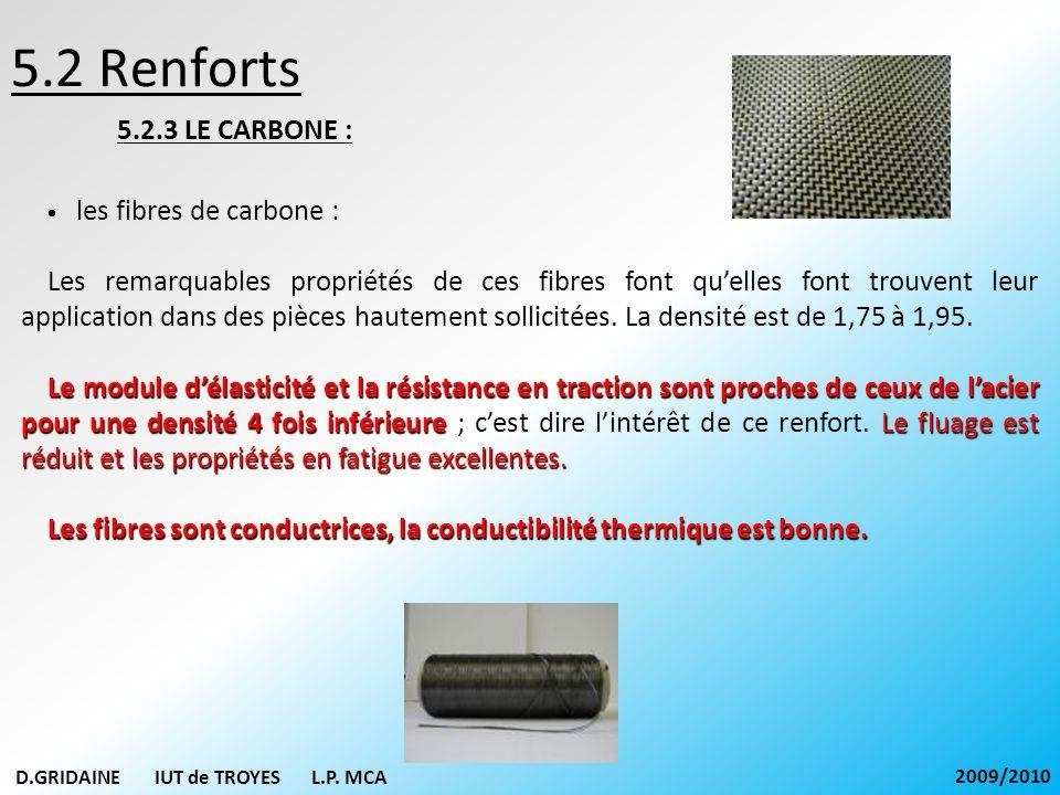 5.2 Renforts 5.2.3 LE CARBONE : · les fibres de carbone :