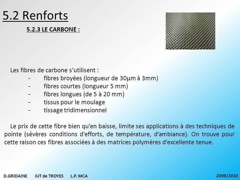 5.2 Renforts 5.2.3 LE CARBONE : Les fibres de carbone s'utilisent :