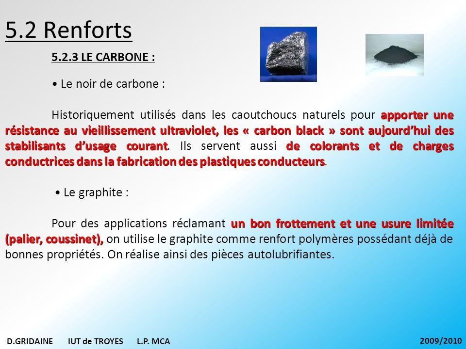 5.2 Renforts 5.2.3 LE CARBONE : • Le noir de carbone :