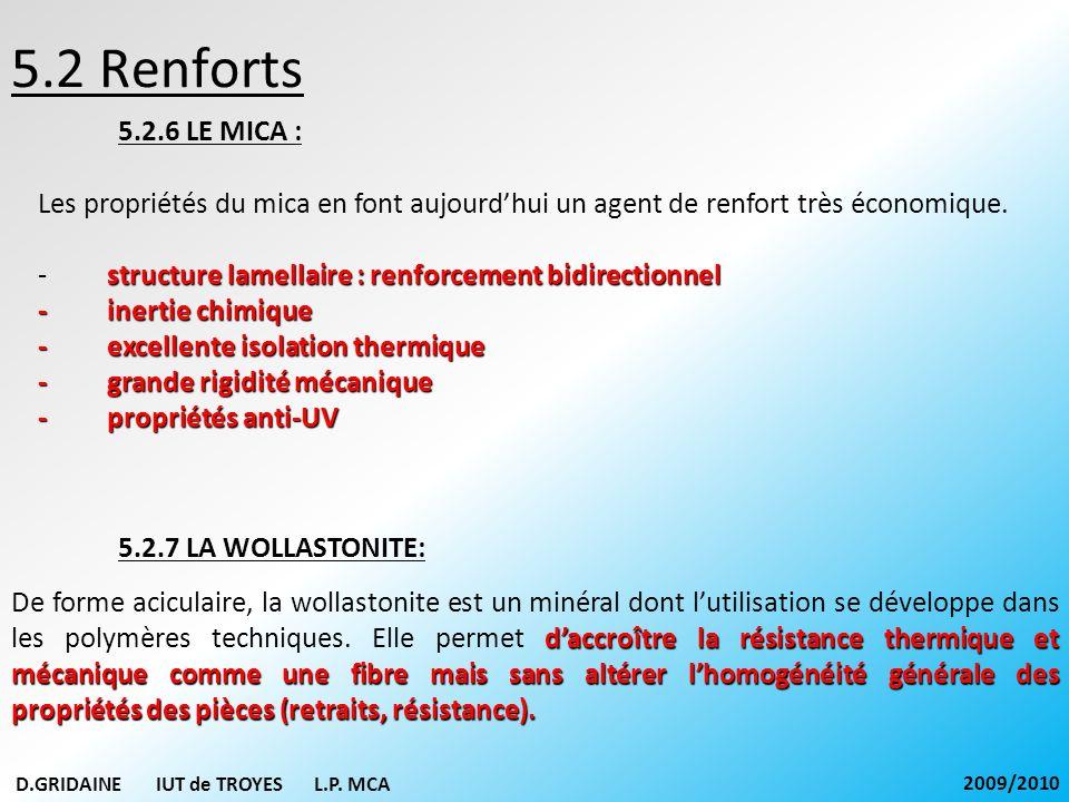 5.2 Renforts 5.2.6 LE MICA : Les propriétés du mica en font aujourd'hui un agent de renfort très économique.