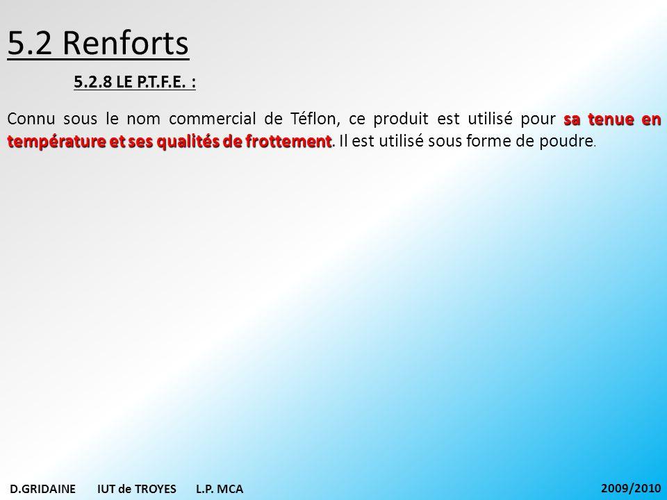 5.2 Renforts 5.2.8 LE P.T.F.E. :