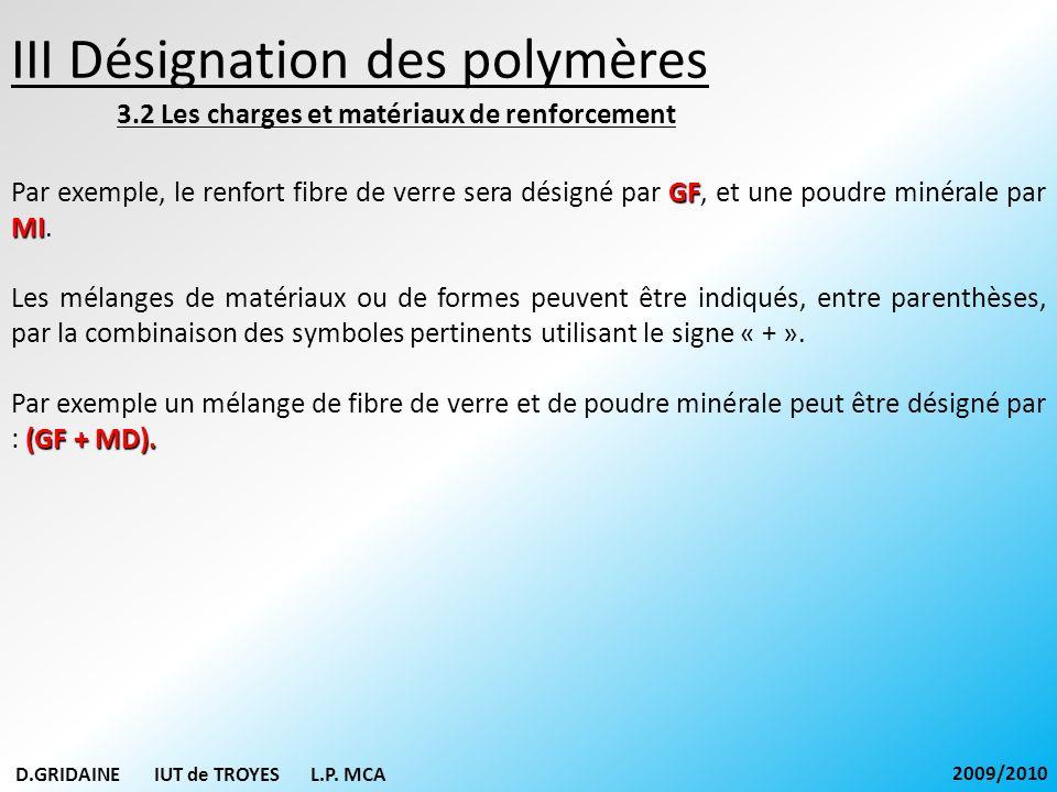 III Désignation des polymères