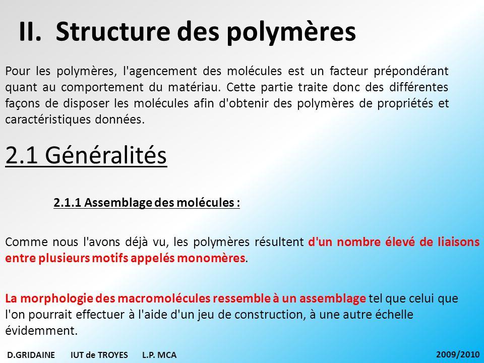 II. Structure des polymères