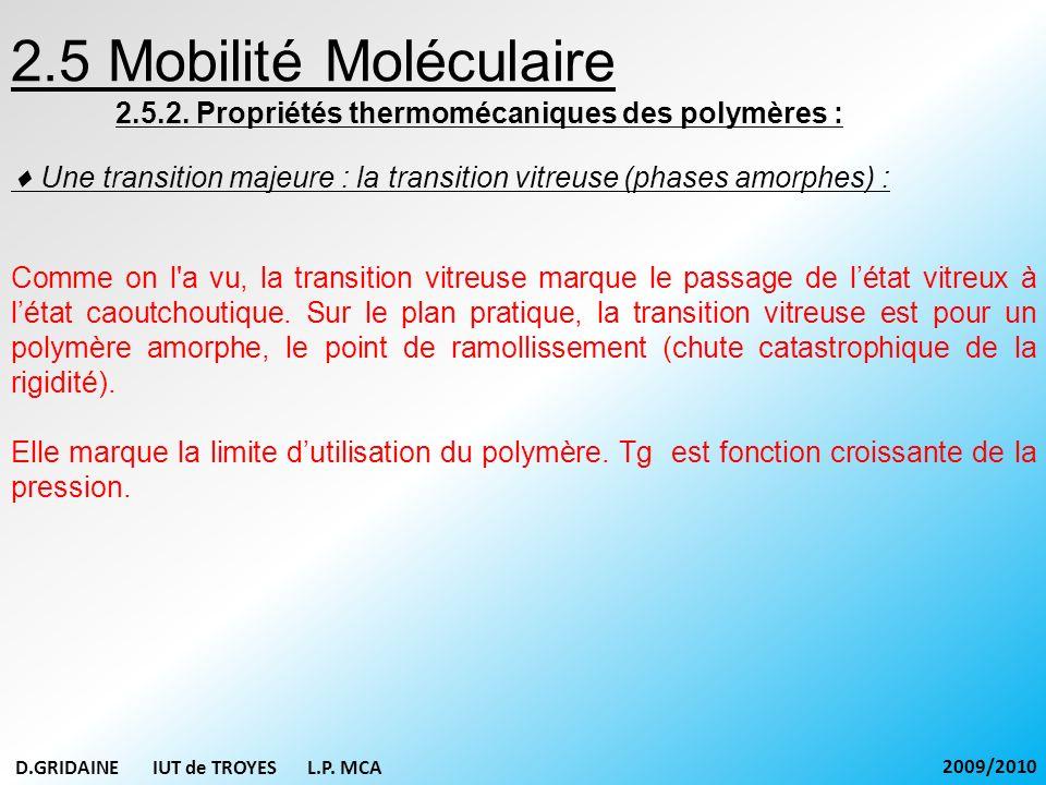 2.5 Mobilité Moléculaire 2.5.2. Propriétés thermomécaniques des polymères :  Une transition majeure : la transition vitreuse (phases amorphes) :