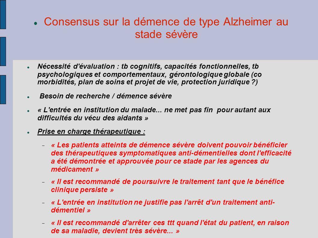 Consensus sur la démence de type Alzheimer au stade sévère