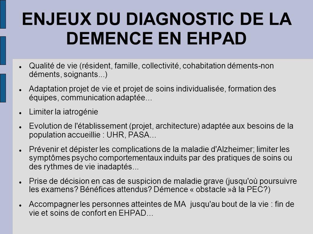 ENJEUX DU DIAGNOSTIC DE LA DEMENCE EN EHPAD