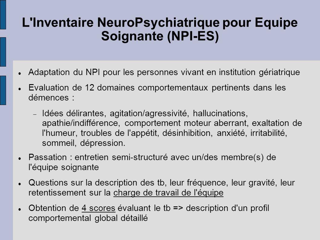 L Inventaire NeuroPsychiatrique pour Equipe Soignante (NPI-ES)