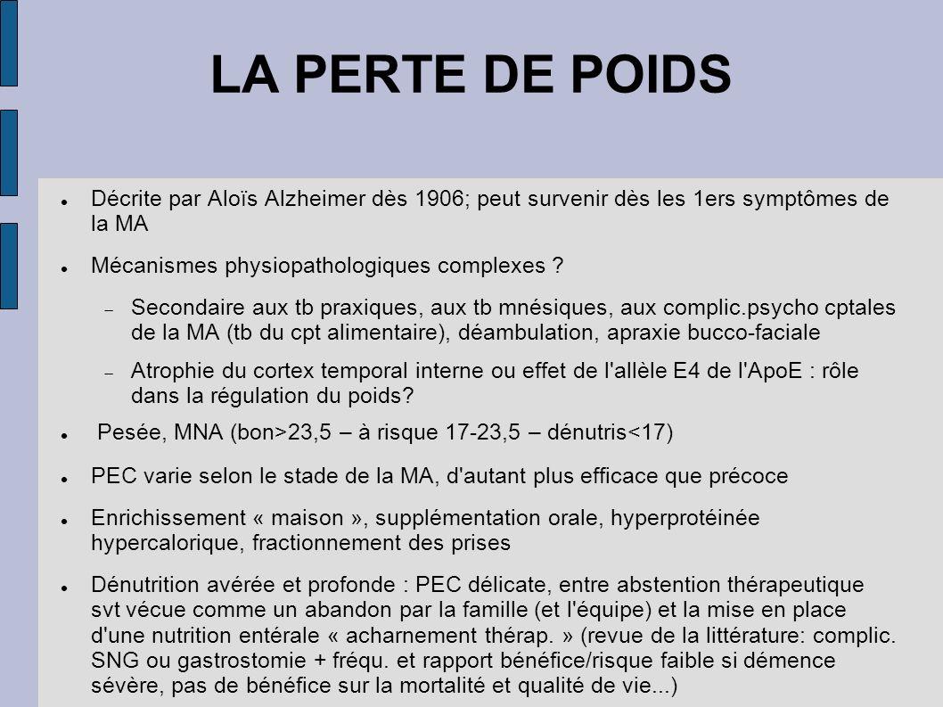LA PERTE DE POIDS Décrite par Aloïs Alzheimer dès 1906; peut survenir dès les 1ers symptômes de la MA.