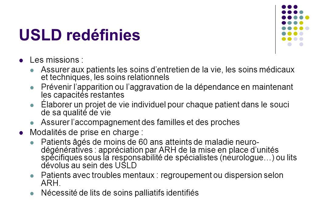 USLD redéfinies Les missions : Modalités de prise en charge :