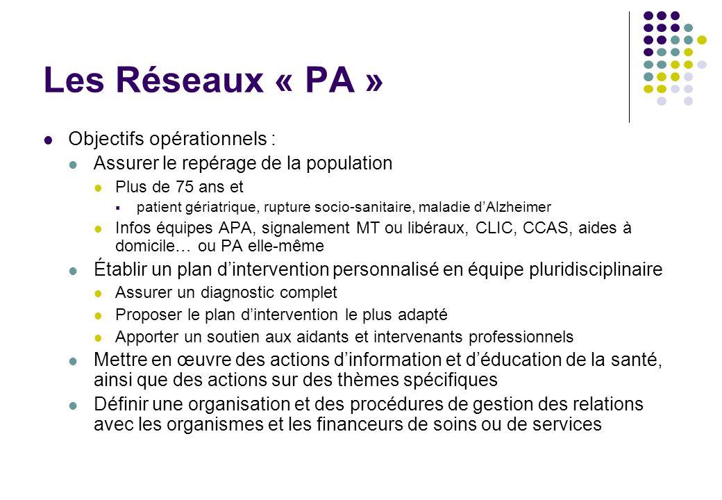 Les Réseaux « PA » Objectifs opérationnels :