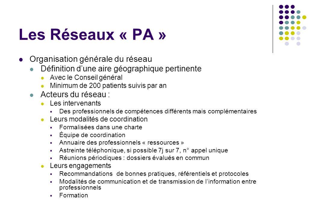 Les Réseaux « PA » Organisation générale du réseau